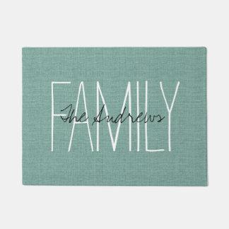 Rustic Aqua Family Monogram Doormat