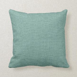 Rustic Aqua Faux Burlap Accent Pillow