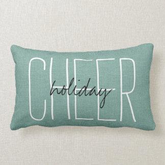 Rustic Aqua Holiday Cheer Lumbar Cushion