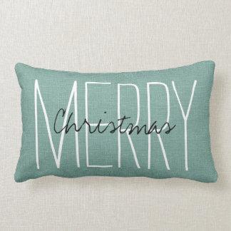 Rustic Aqua Merry Christmas Lumbar Cushion