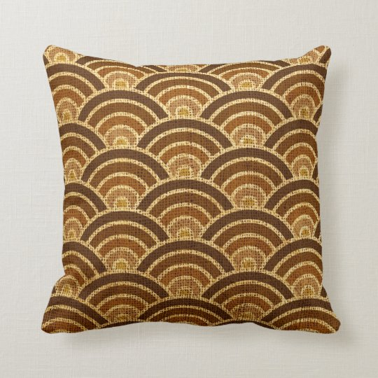 Rustic Art Deco Fish Scales Pattern Brown Cushion
