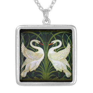 Rustic Art Nouveau White Swan Necklace
