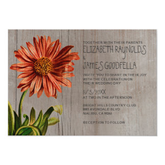 Rustic Aster Wedding Invitations