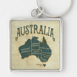 Rustic Australian States Map Silver-Colored Square Key Ring