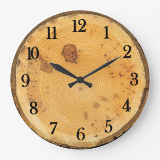 Rustic Authentic looking Round Wood Slice Large Clock