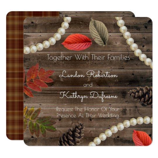 Rustic Autumn Elegance Wedding Invitation
