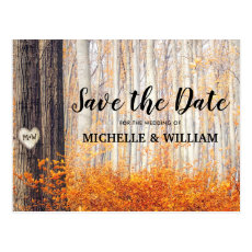 Rustic Autumn Fall Leaves Save the Date