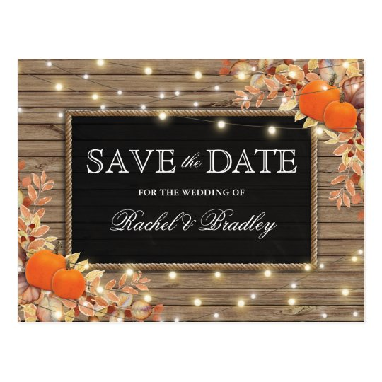 Rustic Autumn Fall Pumpkin Save the Date Postcard