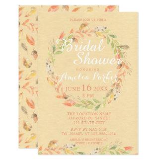 Rustic Autumn Flowers Watercolor Bridal Shower Card