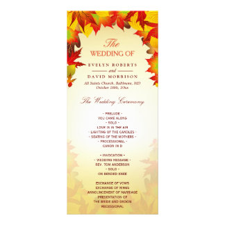 Rustic Autumn Gold Red Fall Leaves Wedding Program Rack Card Template