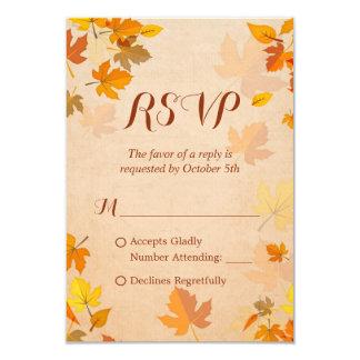Rustic Autumn Golden Maple Leaves Fall RSVP 9 Cm X 13 Cm Invitation Card