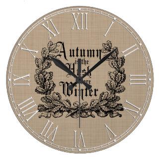 Rustic Autumn Harvest Sayings Large Clock