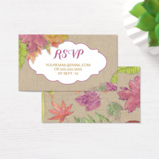 Rustic Autumn Leaf RSVP email reply card 3973