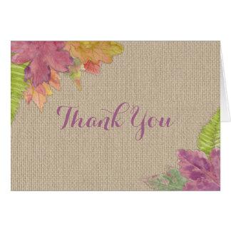 Rustic Autumn  Leaf Wedding Bridal Thank you 3973 Card