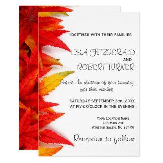 Rustic Autumn Leaves Fall Wedding Invitations