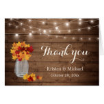 Rustic Autumn Leaves Mason Jar Lights Thank You Note Card