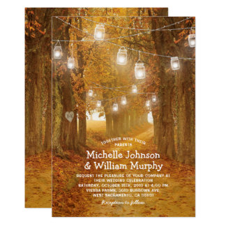 Rustic Autumn Leaves Mason Jar Lights Wedding Card