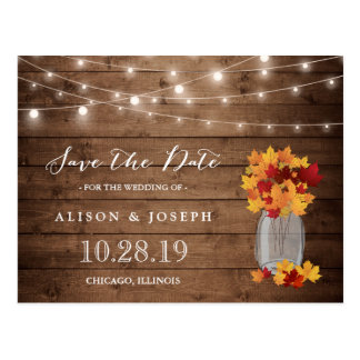 Rustic Autumn Leaves String Lights Save the Date Postcard