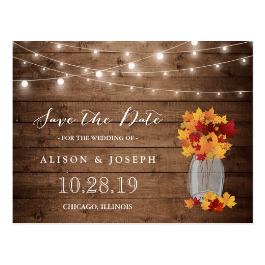 Rustic Autumn Leaves String Lights Save the Date