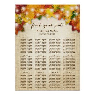 Rustic Autumn Leaves String Lights Seating Chart Poster