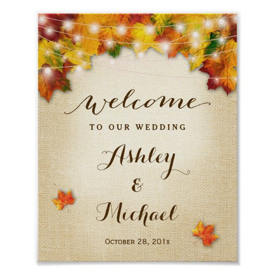 Rustic Autumn Leaves String Lights Wedding Sign