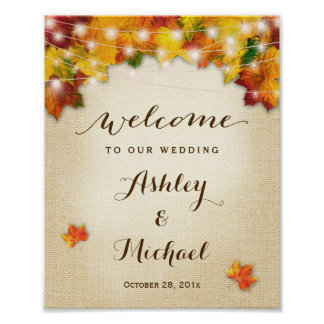 Rustic Autumn Leaves String Lights Wedding Sign Poster