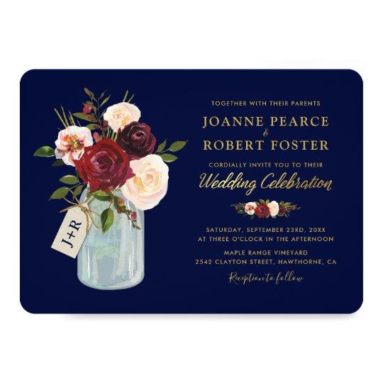 Rustic Mason Jar Floral Wedding Invitations Burgundy: Rustic Autumn Mason Jar Burgundy Navy Gold Wedding