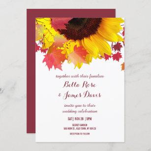 Rustic Autumn Sunflower Fall Wedding Invitations