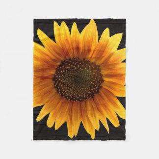 Rustic Autumn Sunflower Fleece Blanket