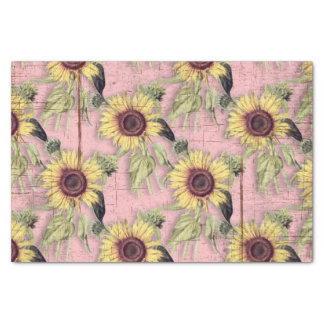 Rustic Autumn Sunflower Pattern Tissue Paper