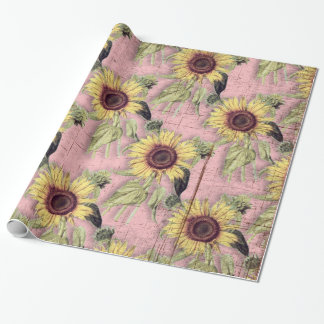 Rustic Autumn Sunflower Pattern Wrapping Paper