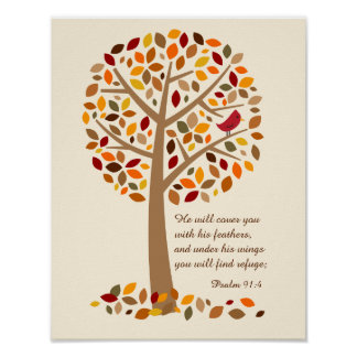 Rustic Autumn Tree Psalm 91 Christian Bible Verse Poster