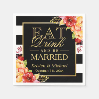Rustic Autumn Wedding EAT Drink and Be Married Disposable Serviettes