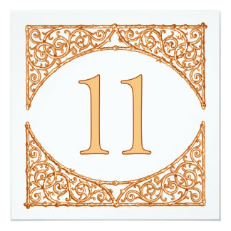 Rustic Autumn Wood Screen Table Number 11 13 Cm X 13 Cm Square Invitation Card
