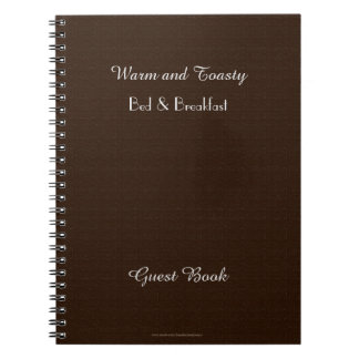 Rustic B&B Guest Book, Faux Dark Brown Burlap Spiral Note Book