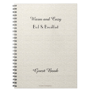 Rustic B&B Guest Book, Faux White Burlap Notebooks