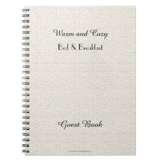 Rustic B&B Guest Book, Faux White Burlap Spiral Notebooks