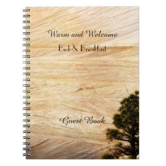 Rustic B&B Guest Book, Light Brown Stone with Tree Spiral Notebook