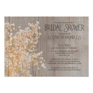 Rustic Baby s Breath Bridal Shower Invitations Card