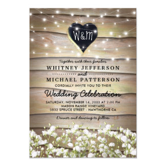 Rustic Baby's Breath Heart Twinkle Lights Wedding Card