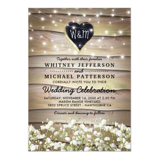 Rustic Baby's Breath Heart Twinkle Lights Wedding Card