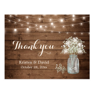 Rustic Baby's Breath Mason Jar Lights Thank You Postcard