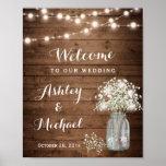 Rustic Baby's Breath Mason Jar Lights Wedding Sign Poster