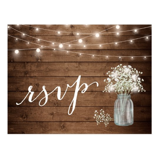 Rustic Baby's Breath Mason Jar String Lights RSVP