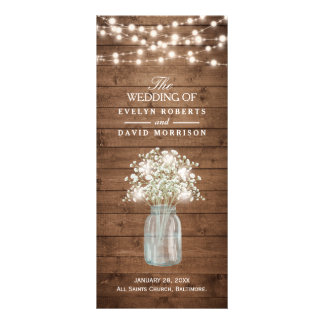 Rustic Baby's Breath Mason Jar Wedding Program Rack Cards