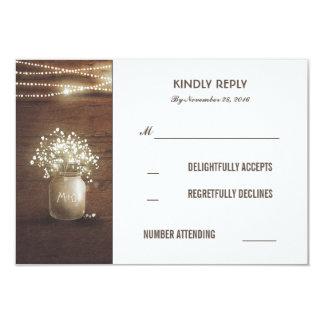 Rustic Baby's Breath Mason Jar Wedding RSVP Cards 9 Cm X 13 Cm Invitation Card