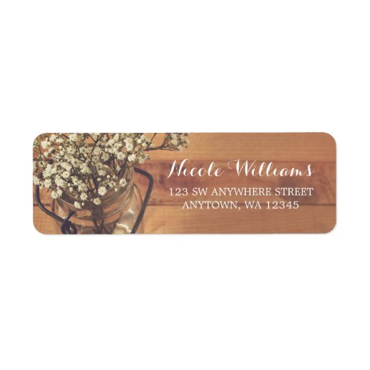 Rustic Baby's Breath Mason Jar Wood Return Address