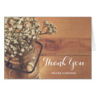 Rustic Baby's Breath Mason Jar Wood Thank You Card