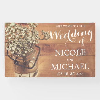Rustic Baby's Breath Mason Jar Wood Wedding Banner