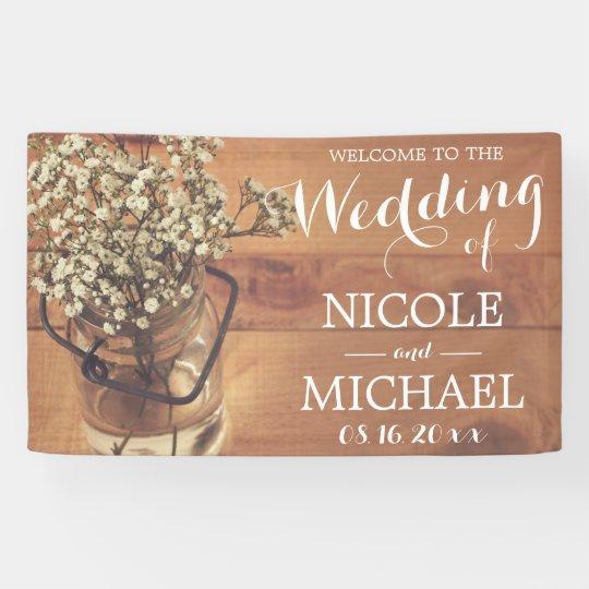 Rustic Baby's Breath Mason Jar Wood Wedding Banner